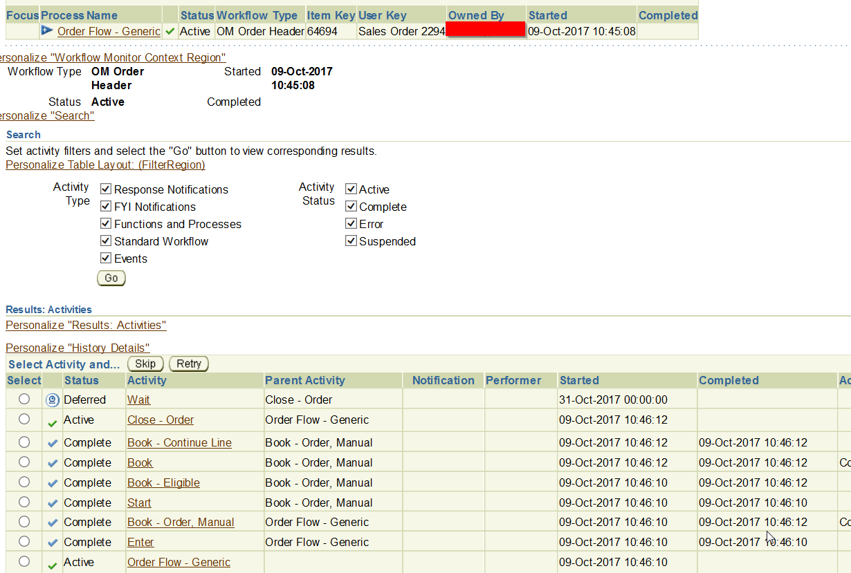 Sales order got stuck in Workflow as Deferred | pacesettergraam